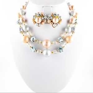 Glass and Resin Beaded Necklace and Earring Set
